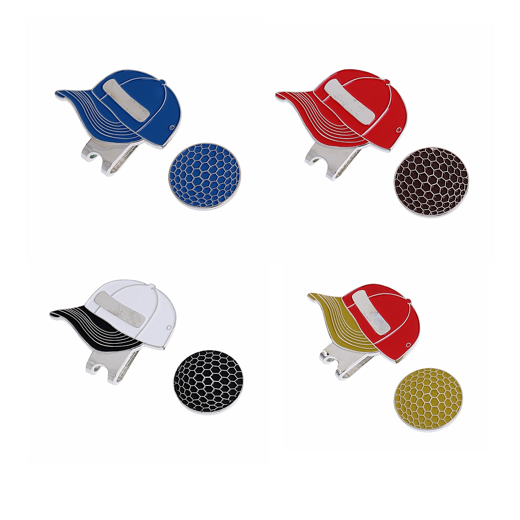 Golf Cap Pattern Alloy Golf Hat Clip With Magnetic Ball Marker