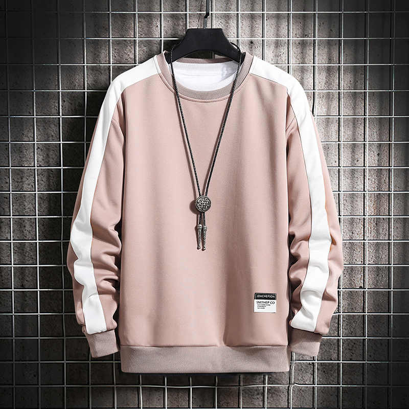 Lange Mouw Harajuku Sweatshirts Mannen 2020 Nieuwe Mode 6 Kleur Hoodie Mens Casual O-hals Patchwork Sweatshirt Voor Jonge Mannen