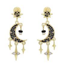 925 Color Trendy Retro Style Star/Moon Earrings Female Ladies Party Crystal simulated pearl Earring Oorbellen Fashion Vintage J