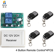 433MHz Universal Wireless Remote Control DC 12V 2CH Relay Receiver Module RF Switch 4 Button Remote Control Gate Garage opener