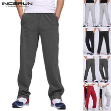 Men Sweatpants Elastic Waist Workout Solid Bodybuilding Casual Trousers Men Joggers Streetwear Zippers Track Pants S-5XL INCERUN