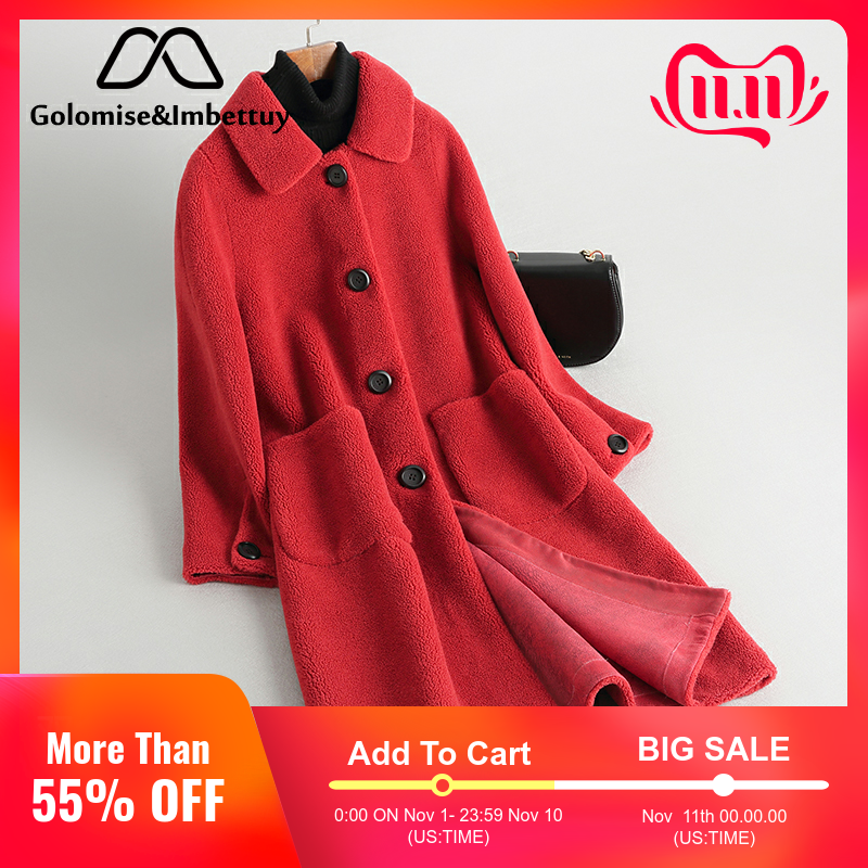 Golomise&Imbettuy Real Composite Shearling Lamb Fur Coat Women Genuine Wool Fur Coat with Faux Suede Leather Liner