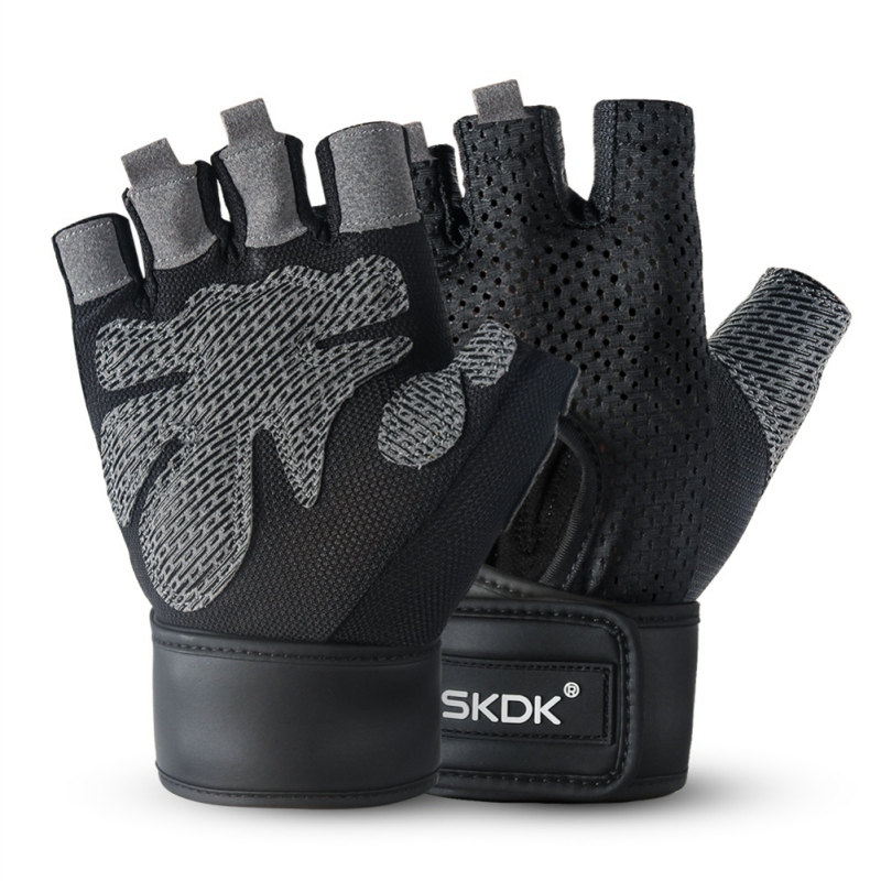 Half Finger Gloves Gym Gloves Hollow-out Anti-slip Cycling Training Fitness Workout Gloves For Dumbbell Weight Lifting