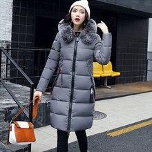 Solid Letter Fur Hooded Down Coat Women Winter Thicken Warm Slim Long Down Jackets Female Zipper Faux Fur Collar Parkas Outwears цены онлайн