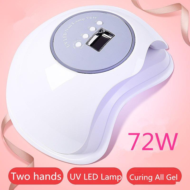 SIMINAIL UV LED Nail Lamp 72w High Power Fast Curing Big Space Size for Drying 2 Hands Feet Daul Light 365nm 405nm 72 watt