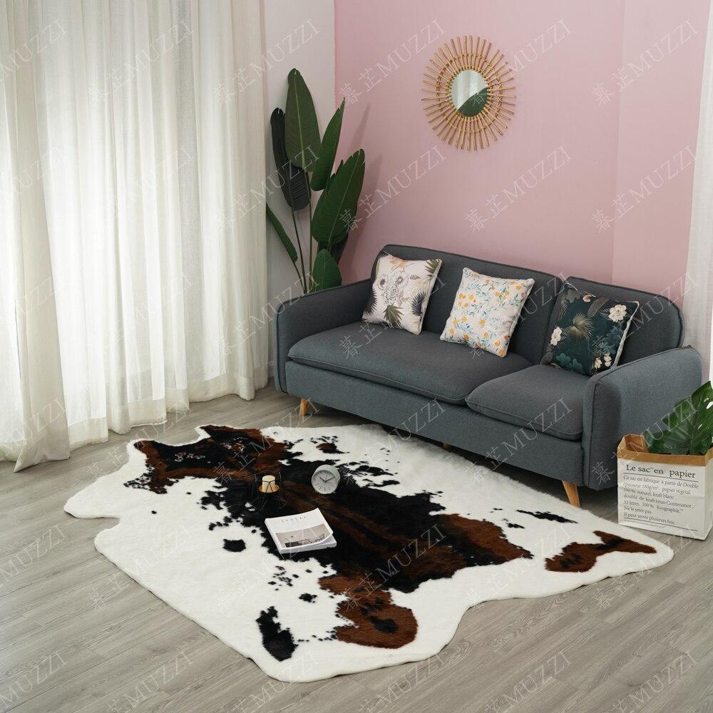 Alfombra grande de imitación de piel de Animal 2020, alfombras antideslizantes de cebra de vaca y alfombras para el hogar y la sala de estar Cosmos Flores, vallas, calcomanías de basebboard, pegatinas decorativas para el hogar, adhesivos de paredes 3D, mural de arte para habitación diy 7210