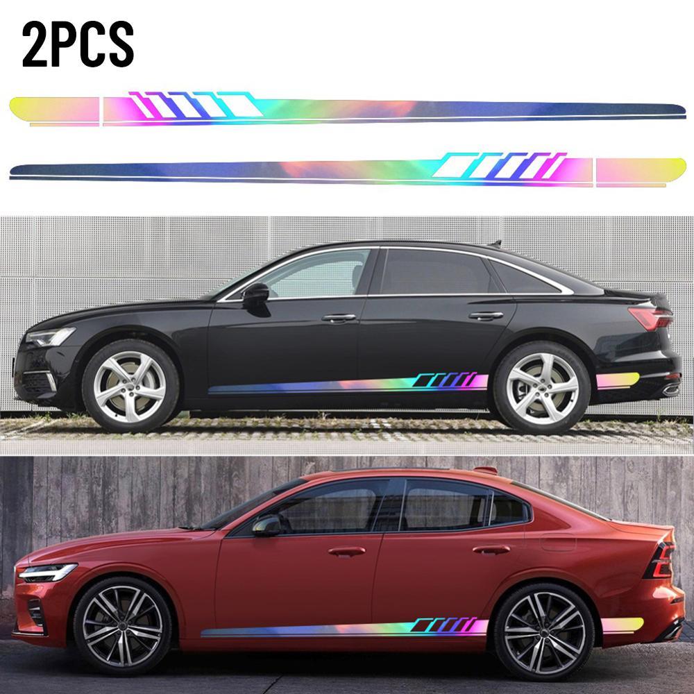 2Pcs  Vinyl  Body 215x9cm Sport Door Side  Long Stripe Racing  Car Sticker