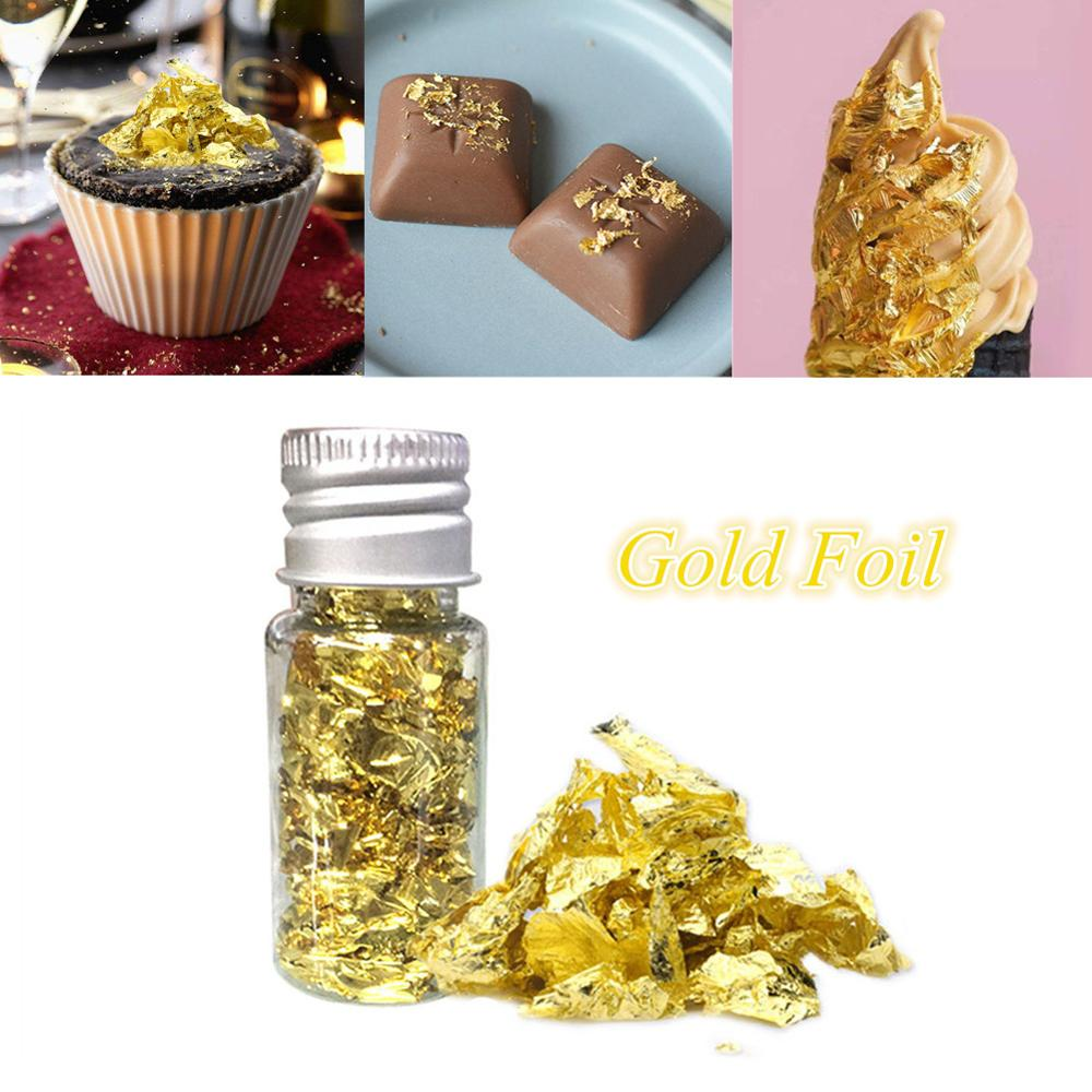 1PC Edible Gold Foil Cream Cakes Gilding Foil Flake Paper For Ice Facial Mask Nail Decal Multifunction DIY Kitchen Tools