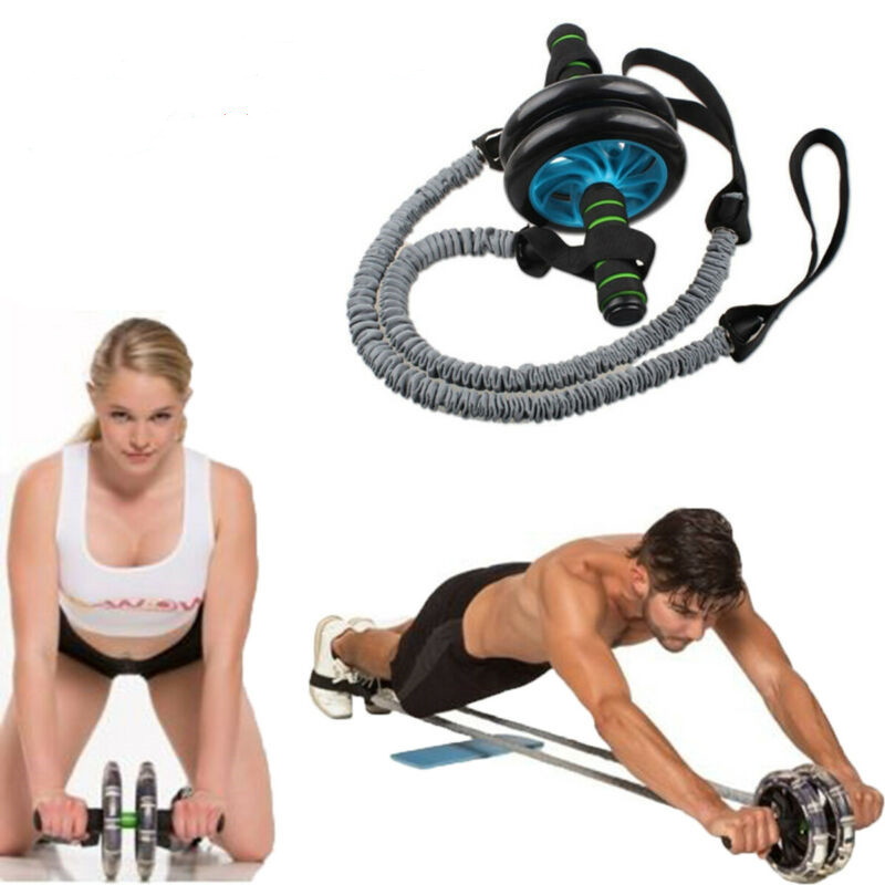 2PCS Ab Roller Wheel Pull Rope Exercise Stretch Pull Ropes Abdominal Slim Fitness Equipment Only Bands No Wheels
