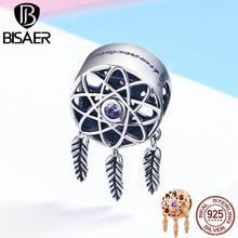 Dream Catcher 925 Sterling Silver Dream Catcher Feather Tassel Round Charm Beads fit Women Charm Bracelet Jewelry Making Gift eudora 925 sterling silver vintage dream catcher charms