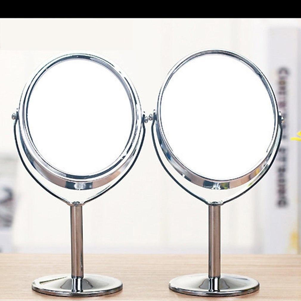 Korean Metal Mirror Makeup Mirror Dressing Mirror Desktop Rotating Mirror 1:2 Magnification Function Makeup Mirror