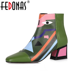 Image 1 - FEDONAS 2021 Fashion Brand Women Ankle Boots Warm High Heels Ladies Shoes Woman Party Dancing Pumps Basic Genuine Leather Boots