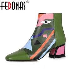 Fedonas 2021 ファッションブランドの女性のアンクルブーツ暖かいハイヒールの女性の靴女性パーティーダンスは基本的な本革ブーツ