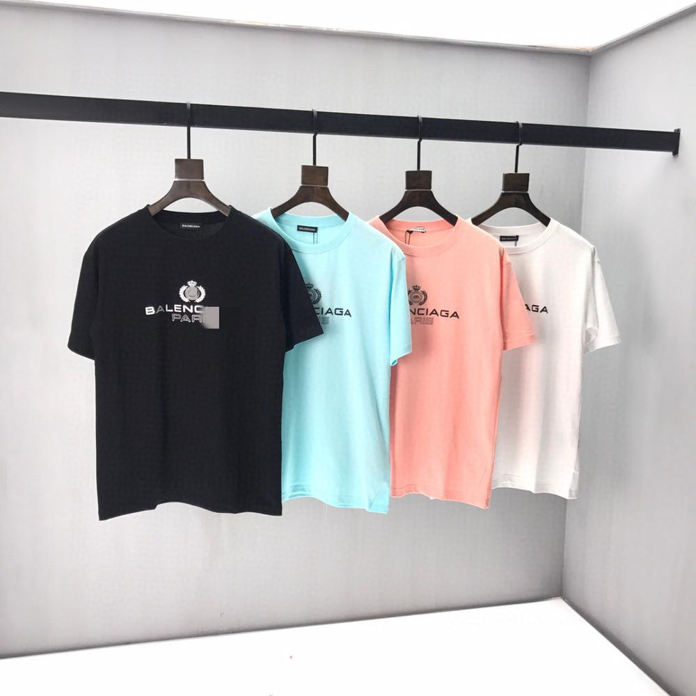 2020 Spring Summer Women's Paris  Letter Embroidery Cotton Black Short Sleeve Men T-shirt B4