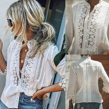 Embroidery Floral Lace Blouse Shirt Women Lantern Sleeve Whi