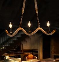 Loft Rope Chandelier Kitchen Dining room Bedroom Wave Industrial Retro Edison Lamp lustres de teto