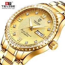 Tevise Золотой Механические часы для Для мужчин указание даты