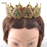 Ethnic Royal Tiara Old Gold Hair Jewelry Moroccan Fashion Queen Crown Arabic Luxury Rhinestones Princess Crown
