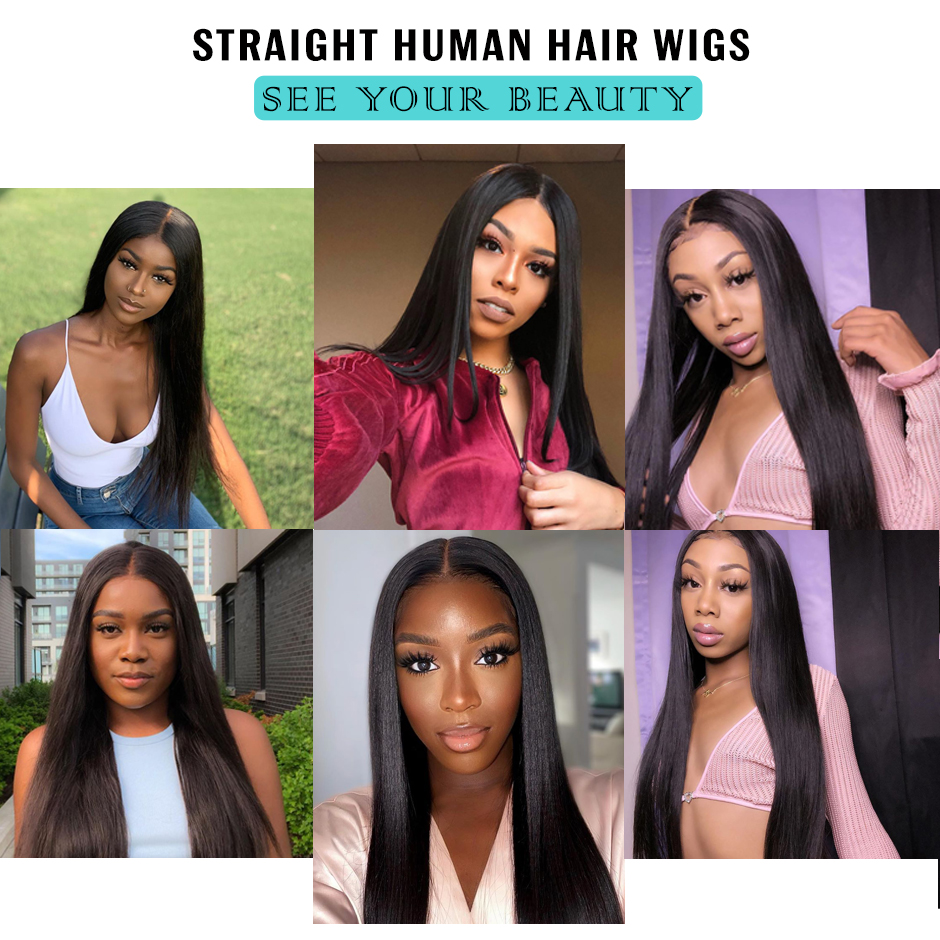 Malaysian Straight Wigs For Women 180% Density 4x4 Lace Closure Wig T-part wig ISEE HAIR 13x4x1 Lace Front wig Human Hair Wigs