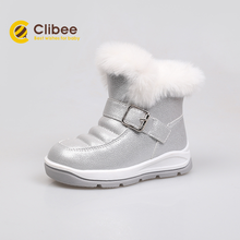 CLIBEE 2020 Girl Autumn Winter Snow Boots Warm Synthetic Children Boots With Buckle Strap Kids Flat Waterproof Boots 22-27