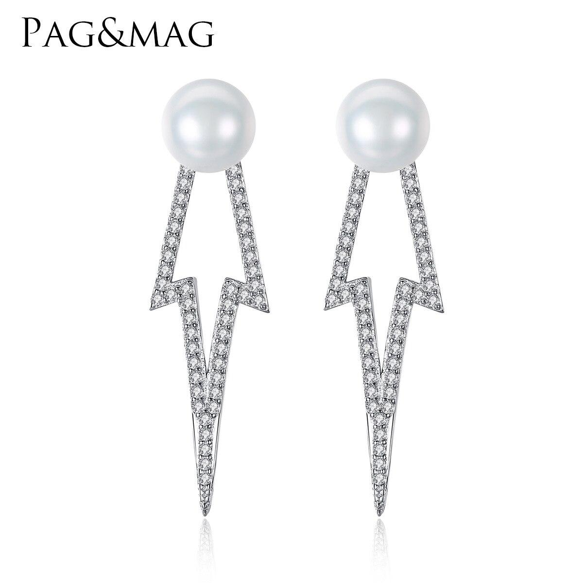 Boucles d'oreilles PAG & MAG S925 en argent sterling 7/7.5mm perles naturelles cinq étoiles