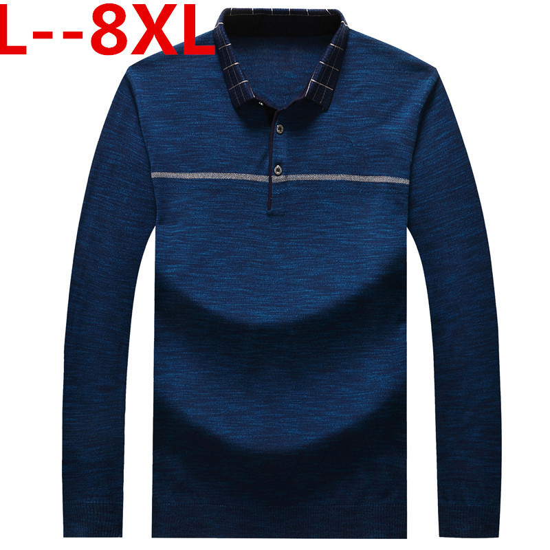 Plus 8XL 6XL Father Clothes Simple Comfortable Style Men's Sweater Long Sleeve Lapel Leisure Pullover Men Pull Homme Sweaters