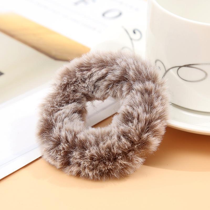 Мягкая Плюшевая повязка для волос резинки для волос натуральный мех кроличья шерсть мягкие эластичные резинки для волос для девочек однотонный цветной хвост резинки для волос для женщин - Цвет: 25