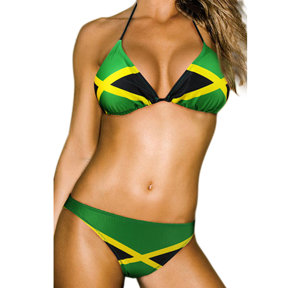 Free shipping Hot sexy new Caribbean Jamaica flag padded ladies <font><b>bikini</b></font> swimwear SWIMSUIT size M L <font><b>XL</b></font> <font><b>XXL</b></font> shipping within 24hs image