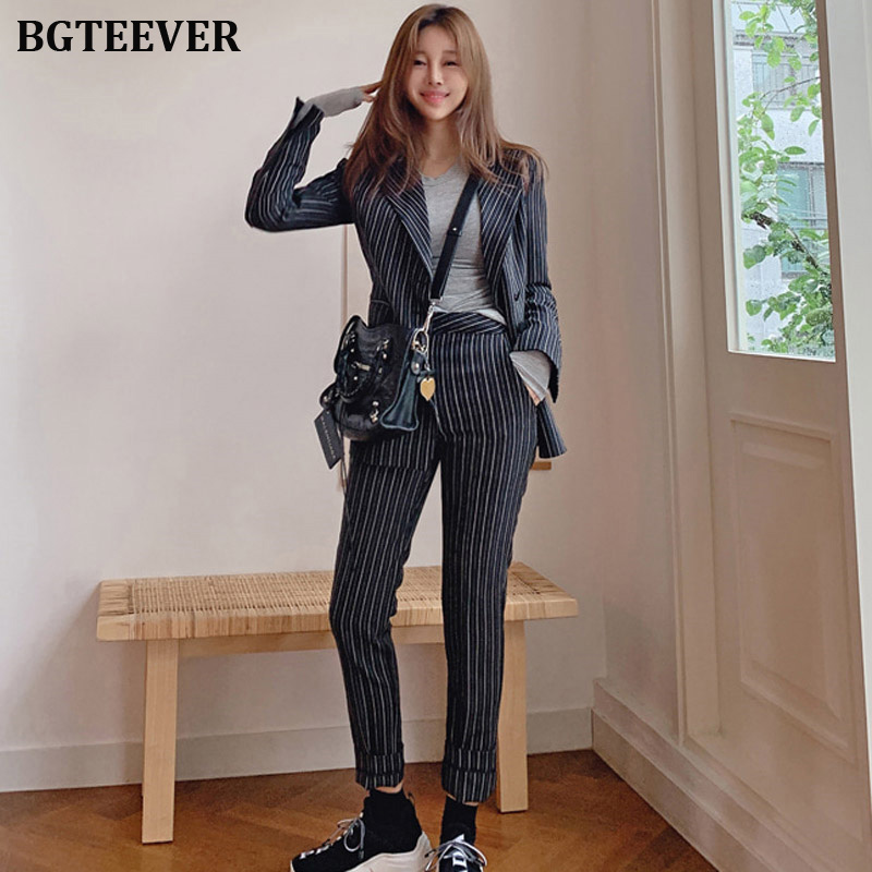 Vintage Striped Women Pant Suit Single-breasted Jacket & High Waist Pencil Pant Female Blazer Set 2019 Office Wear Women Suits
