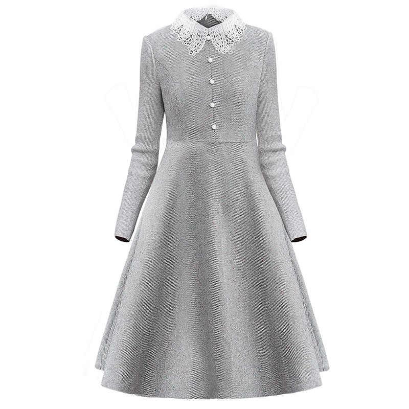 Only 플러스 우아한 회색 모직 드레스 니트 긴 소매 단추 하이 엔드 슬림 드레스 격자 무늬 겨울 무릎 길이