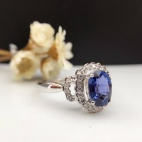 Solid 18K Gold 1.259ct Genuine Sapphire Women Ring 0.142ct Diamond Encrusted Wedding Engagement Ring sapphire jewelry