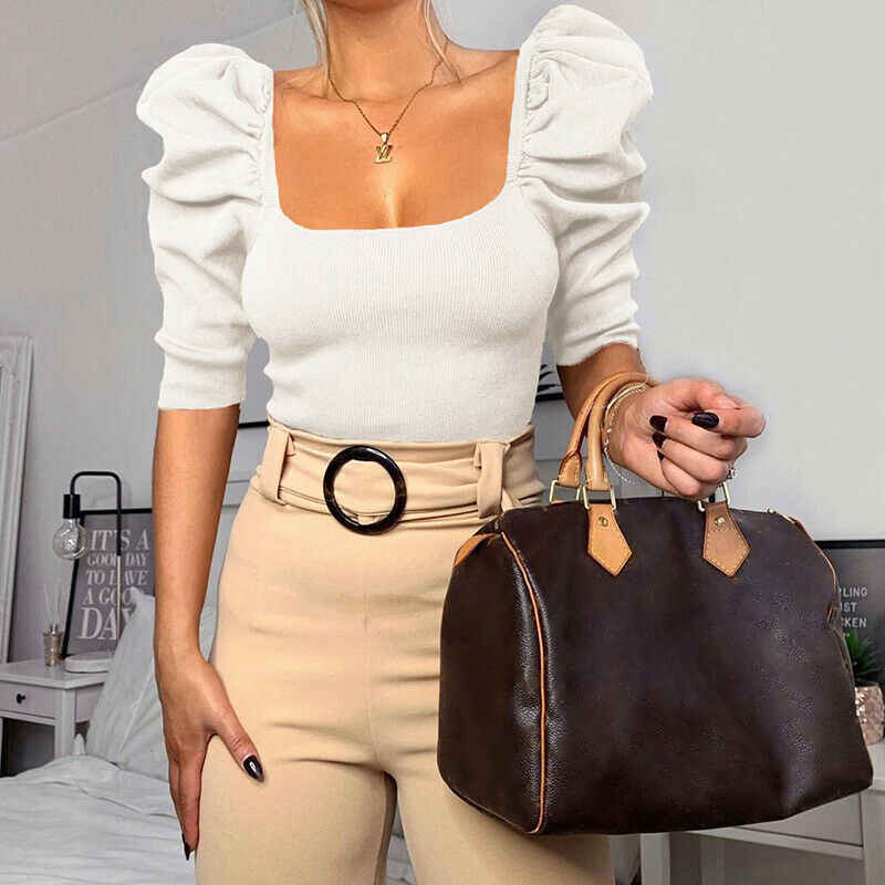 4 สี 2020 ใหม่ผู้หญิงพัฟRuffleเสื้อลำลองหญิงสีทึบแฟชั่นฤดูใบไม้ผลิเสื้อชุดปาร์ตี้Clubwear