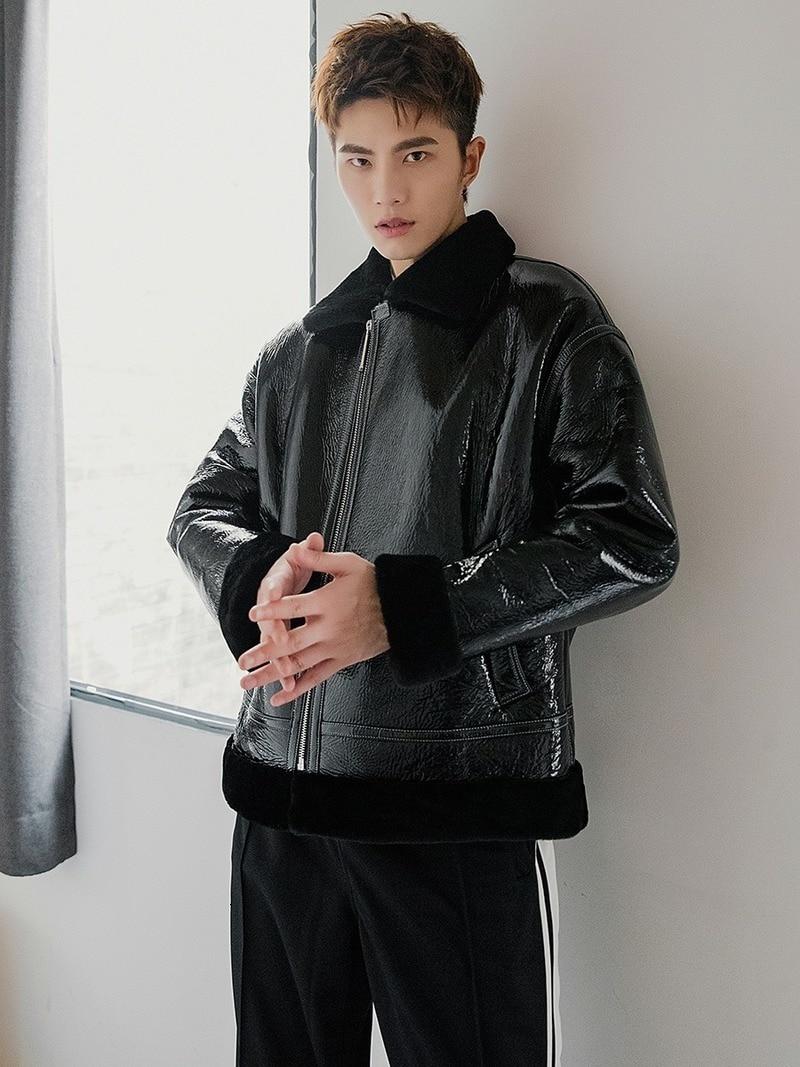 Genuine Leather Jacket Men Winter Real Fur Coat Natural Original Merino Wool Fur Jacket Shiny Motorcycle Leather Coats 19578