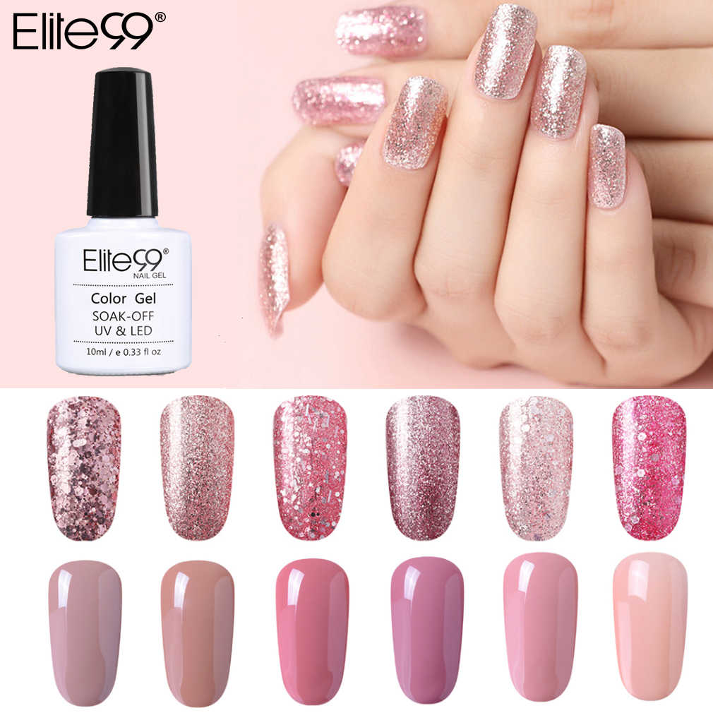 Elite99 10ml oro rosa brillo esmalte de uñas de Gel uv Color Nude uña Gel polaco Gel barniz Soak Off esmalte para decoración de uñas manicura DIY