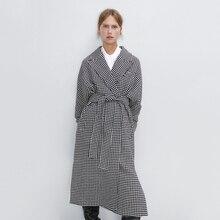 Trendy ZA Plaid Long Coat for Women Black White Long Sleeve