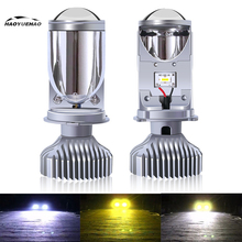 2020 New H4 Led Car Headlight Bulbs Y6S 3 Colors Lens Fisheye Lamp Far Near  Fisheye Super Bright Mini Lens H4 Led Headlight near far