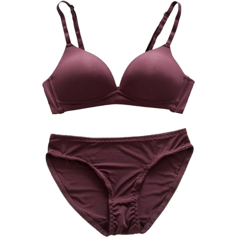 2019 New Ladies <font><b>Sexy</b></font> Lingerie <font><b>Set</b></font> Comfortable Smooth No Trace Deep V No Steel Ring <font><b>Bra</b></font> + Panties Two-<font><b>piece</b></font> 6 Colors image