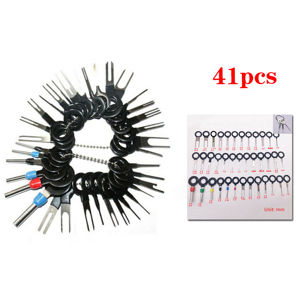 41pcs Car Plug Circuit Board Stainless Steel Wire Harness Terminal Extraction Pick Connector Crimp Pin Back Needle Remove Tool