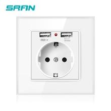 SRAN EU стандартная настенная электрическая розетка с usb двумя портами белая кристальная стеклянная панель розетка электропитания с usb штекером