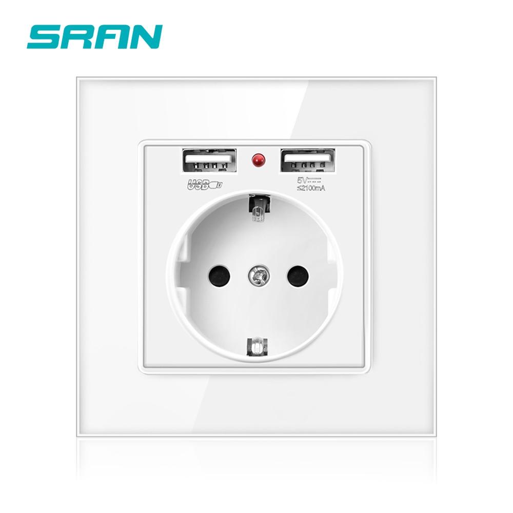 SRAN ЕС стандартная настенная электрическая розетка, розетка с usb двумя портами белый/черный/золотой кристалл стеклянная панель 86*86 usb штекер