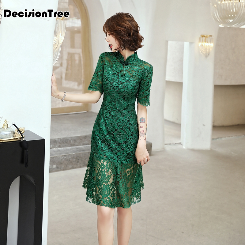 2020 Traditional Chinese Dress Qipao Cheongsam Lace Fishtail Dress Evening Party Gown Half Sleeve Qipao Dress Chinese