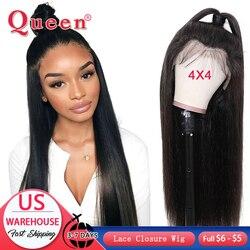 4*4 zamknięcie koronki peruki z ludzkich włosów dla kobiet Natural Color brazylijski prosto Remy włosy peruki z ludzkich włosów produkty Queen Hair