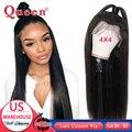 4*4 spitze Schließung Menschliches Haar Perücken Für Frauen Natürliche Farbe Brasilianische Gerade Remy Haar Menschliches Haar Perücken Königin haar Produkte