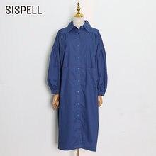 Женское Повседневное платье рубашка sispell свободное с длинными