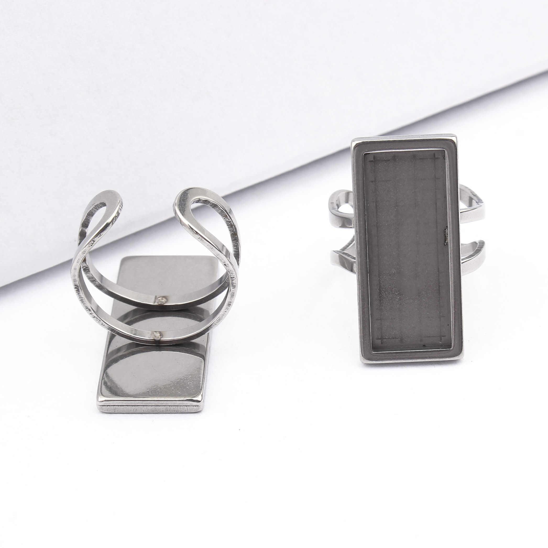 4Pcs נירוסטה קרושון טבעת בסיס Fit 10x25mm מלבן ריק הגדרות לוחות Diy מגשי תכשיטי ביצוע ממצאי מתכוונן
