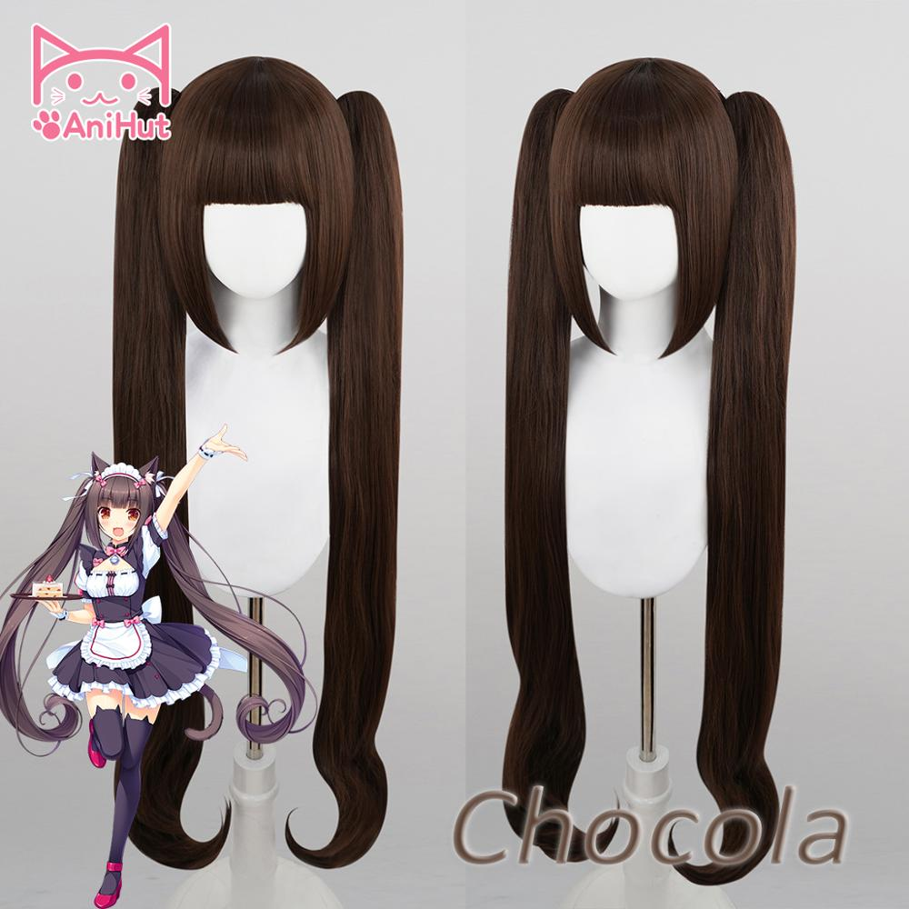 AniHut Chocola Wig Anime NEKOPARA Cosplay Wig Women Chocolate 100cm Heat Resistant Synthetic Hair NEKOPARA Chocolat Cosplay Hair