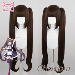 Image 1 - 【Anihua perruque de Cosplay de chocolat NEKOPARA, perruque synthétique résistante à la chaleur, coiffure de Cosplay