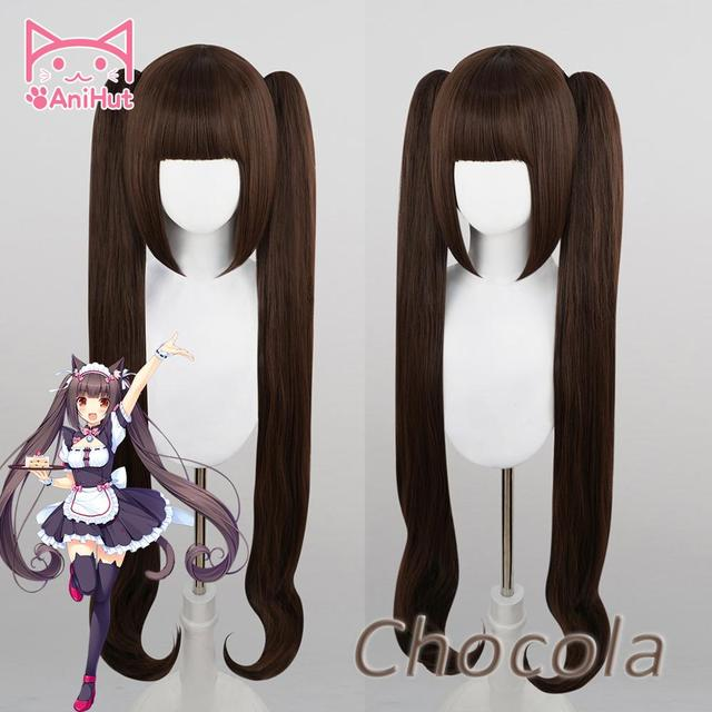 【Anihua perruque de Cosplay de chocolat NEKOPARA, perruque synthétique résistante à la chaleur, coiffure de Cosplay