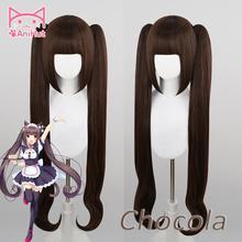 【Anihut】chocola nekoparaコスプレウィッグチョコレート耐熱人工毛チョコラコスプレ毛