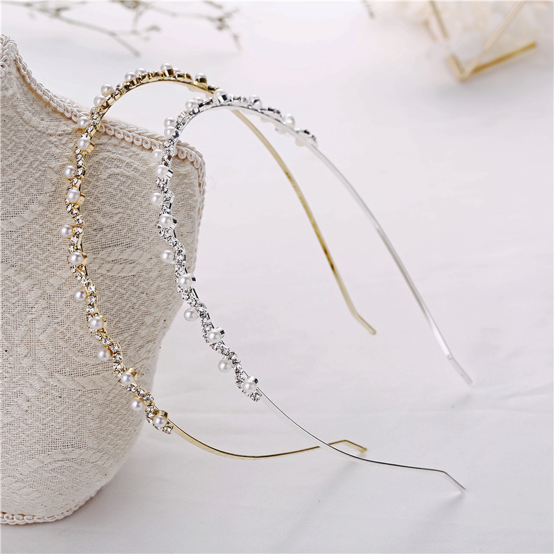 1PC Hot Fashion Crystal Rhinestone Pearl Wave Hairband Women Bridal Wedding Hair Accessories Crown Headband Child Hairwear